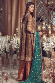 Pakistani Chiffon embroidered women formal eid outfit in copper color # P2496