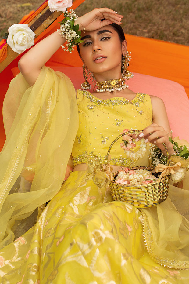 Yellow Lehnga for Mehndi with Organza Dupatta