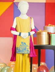Yellow coloured Pakistani child Eid dress