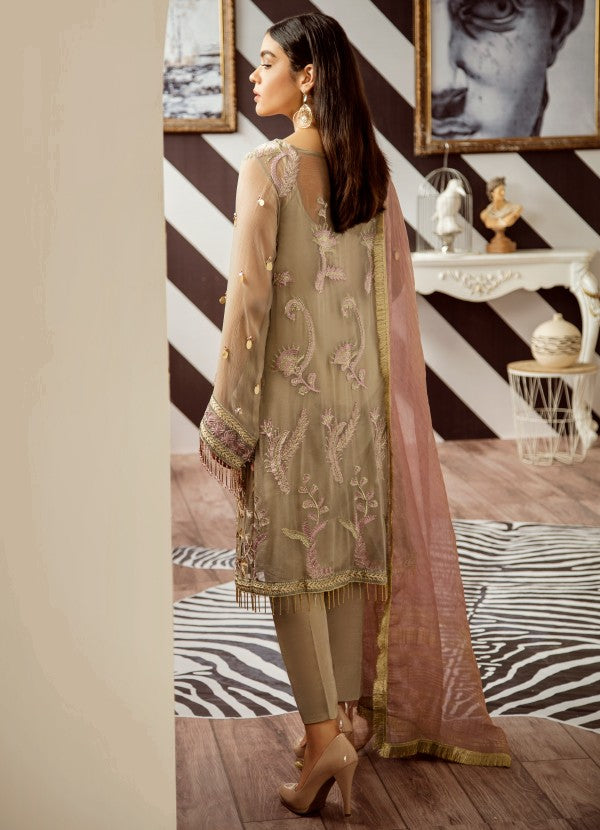 Elegant Pakistani designer ada worked dress in seattle mist color