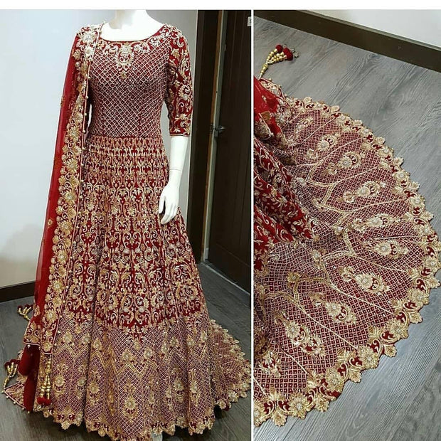 Beautiful shade of Red Gold Indian Bridal choli with lehnga