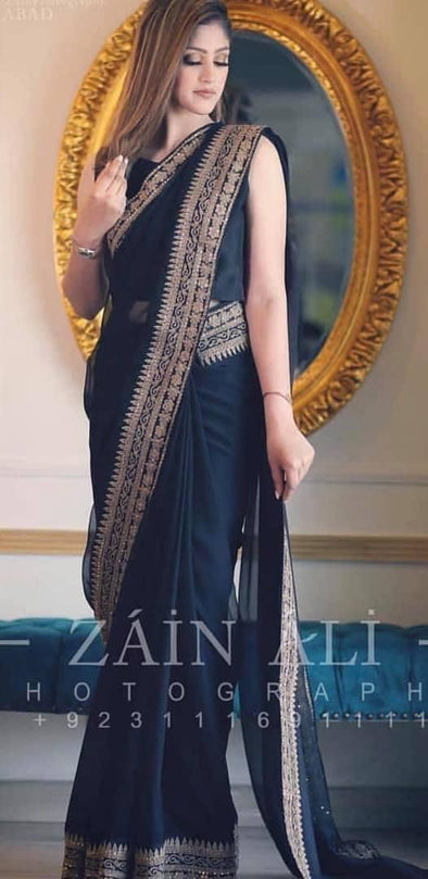 Indian Elegant embroidered wedding party saree