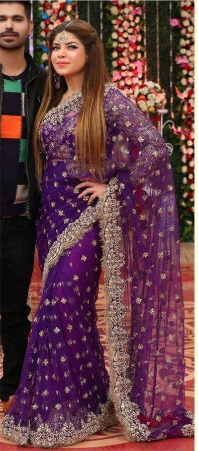 Purple Net Embroidered Saree With Blouse