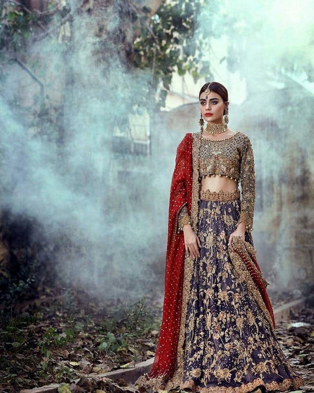Indian Traditional Navy Blue and Deep Red heavy bridal lehnega