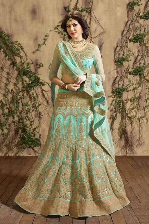 Indian Soft green Full flare Lehenga Choli