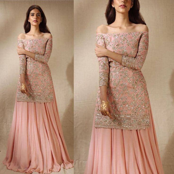 Indian Soft pink Full flare wedding Lehenga 2019