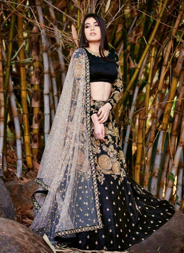 Latest Indian Wedding lehenga choli in Black and Gold