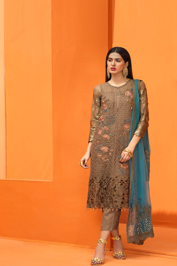 Elegant traditional wear outfit Pakistani in coffee color # P2244