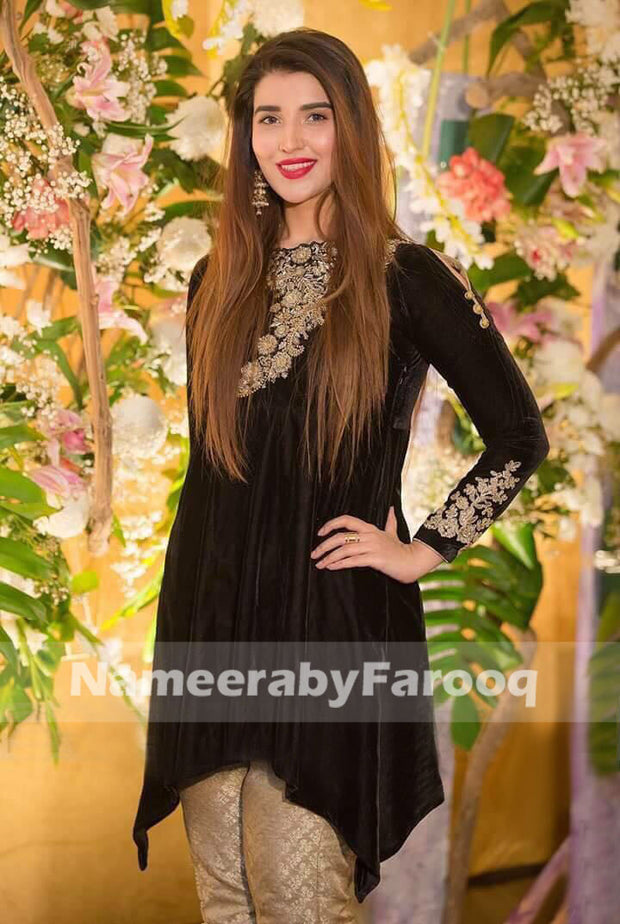 Black Velvet & Golden Party Dress With Work Of Golden Dabka