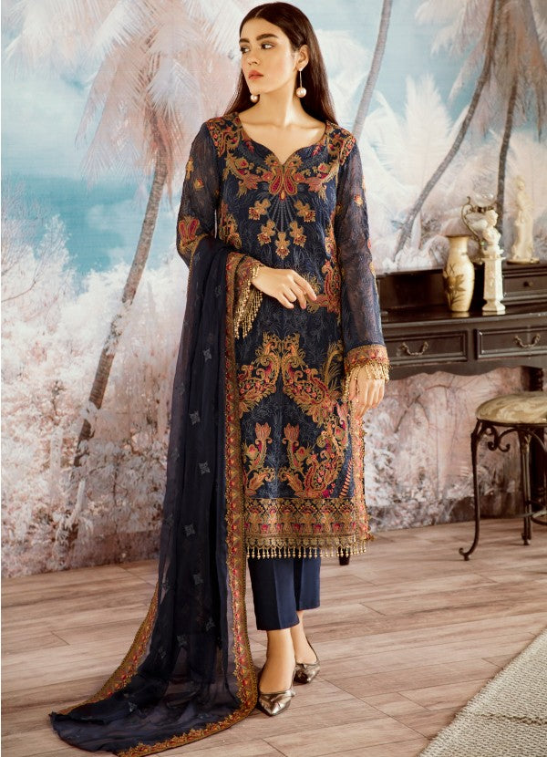 Beautiful Pakistani designer chiffon blue thread embroidered dress # P2325