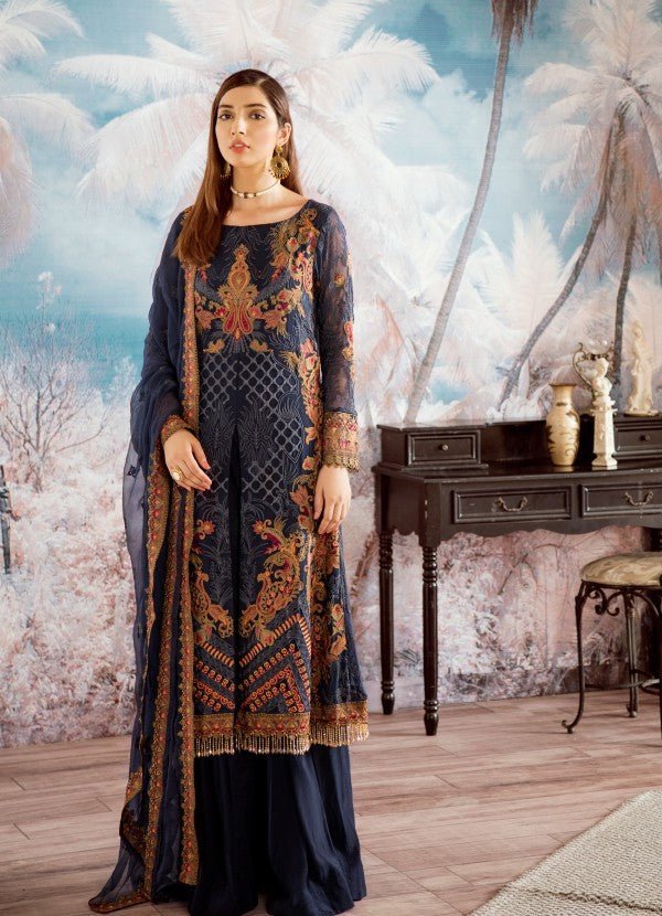Pakistani designer chiffon blue thread embroidered dress