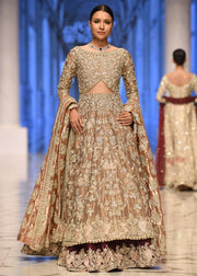 Beautiful bridal embroidered lehnga in gold and maroon color # B3366