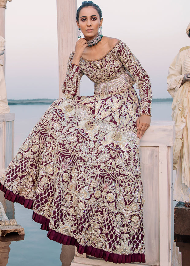 Beautiful bridal embroidered lehnga outfit in maroon color