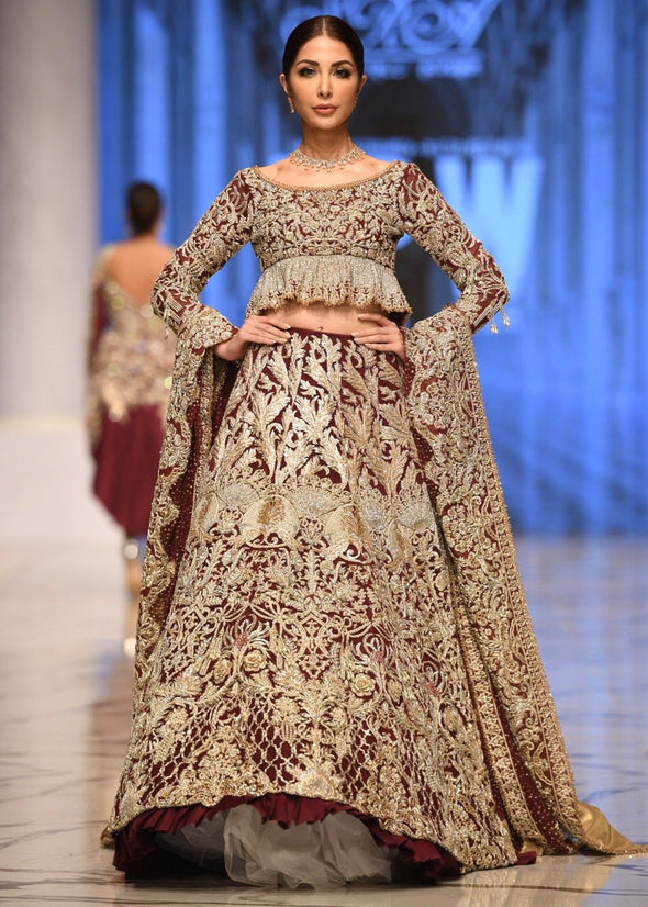 Beautiful bridal embroidered lehnga outfit in maroon color # B3368
