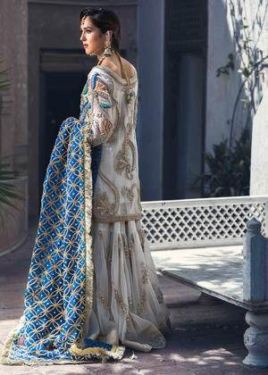 Latest embroidered bridal gharara dress for wedding wear in white color # B3400