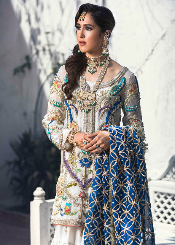 Latest embroidered bridal gharara dress for wedding wear in white color