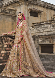 Latest bridal lehnga dress for wedding wear in pink gold color # B3398