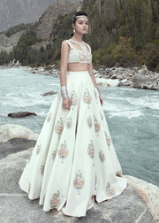 Latest embellished bridal skirt dress in white color for wedding wear # B3406