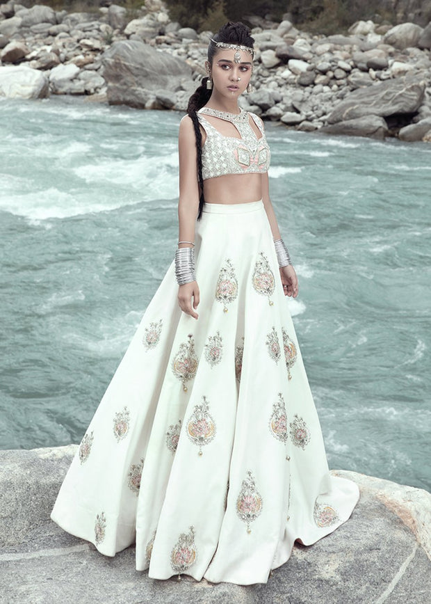 Latest embellished bridal skirt dress in white color for wedding wear