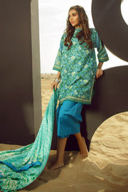 Latest Summer Pakistani casual printed lawn dress in blue color