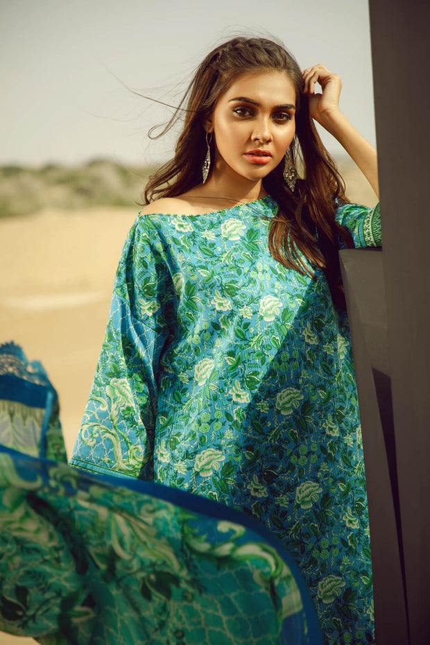 Latest Summer Pakistani casual printed lawn dress in blue color # P2505