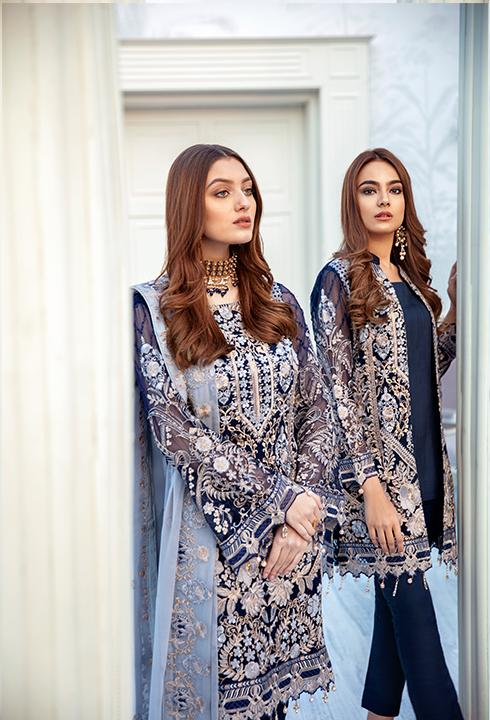 Latest embroidered Pakistani chiffon dress in dark blue color # P2509