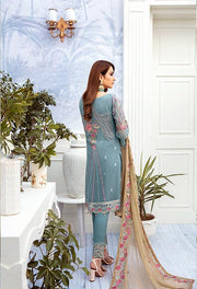 Latest embroidered chiffon dress 2020 in blue and skin color # P2516