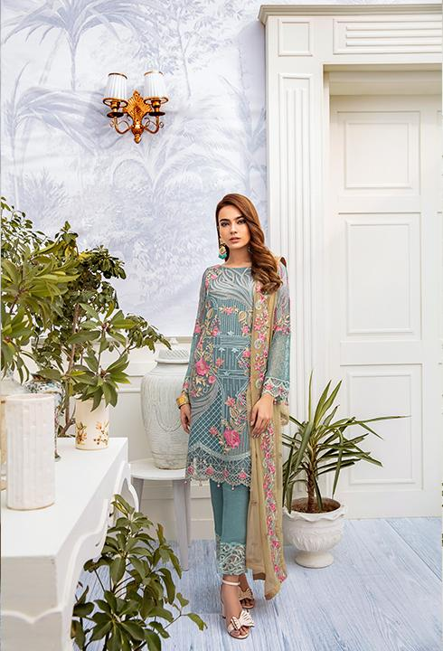 Latest embroidered chiffon dress 2020 in blue and skin color