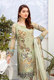 Latest embroidered chiffon dress 2020 online in pista green color # P2517