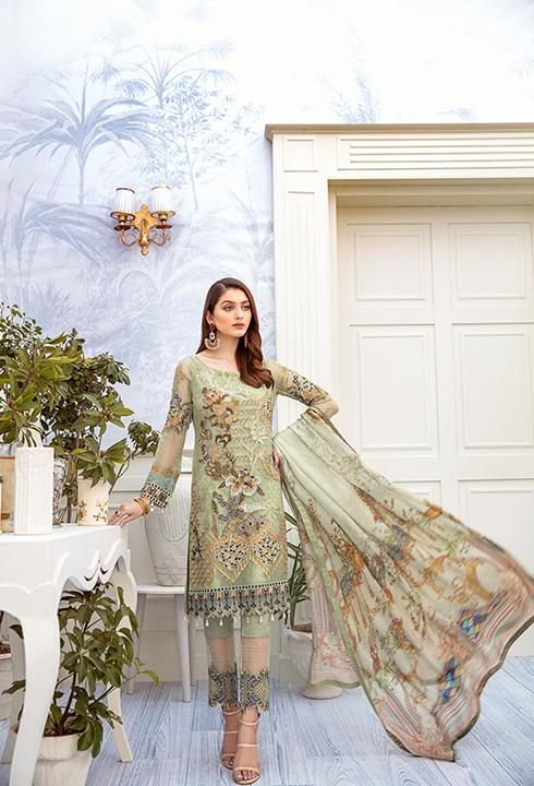 Latest embroidered chiffon dress 2020 online in pista green color