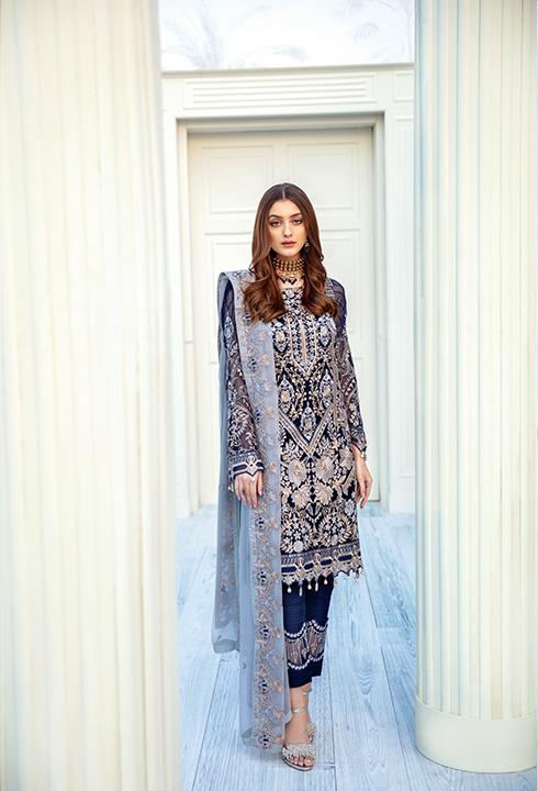 Latest embroidered Pakistani chiffon dress in dark blue color