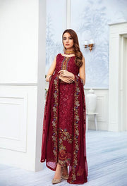 Latest embroidered chiffon dress online in reddish maroon color # P2511