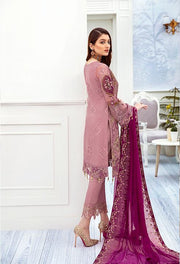 Latest embroidered chiffon dress online in lilac purple color # P2513