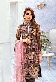 Latest embroidered chiffon dress online 2020 in brown and pink color # P2520