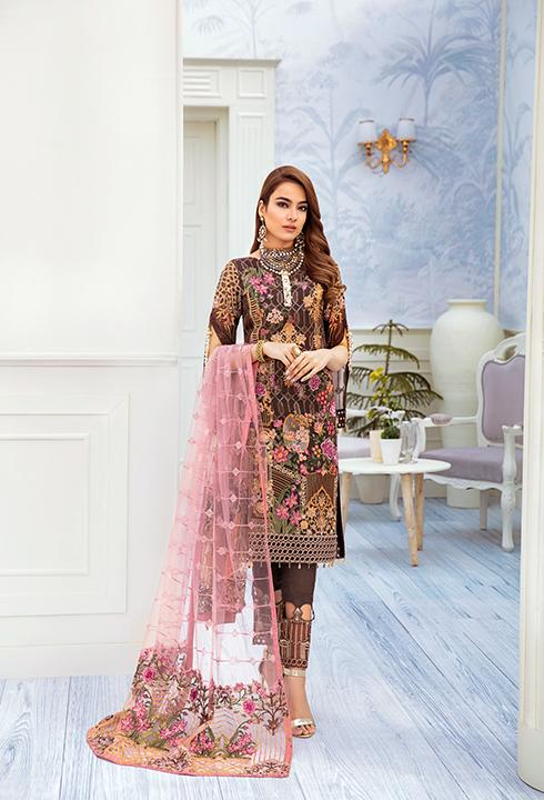 Latest embroidered chiffon dress online 2020 in brown and pink color