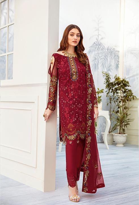Latest embroidered chiffon dress online in reddish maroon color