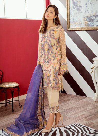 Pakistani designer chiffon embroidered dress in reed yellow color # P2326