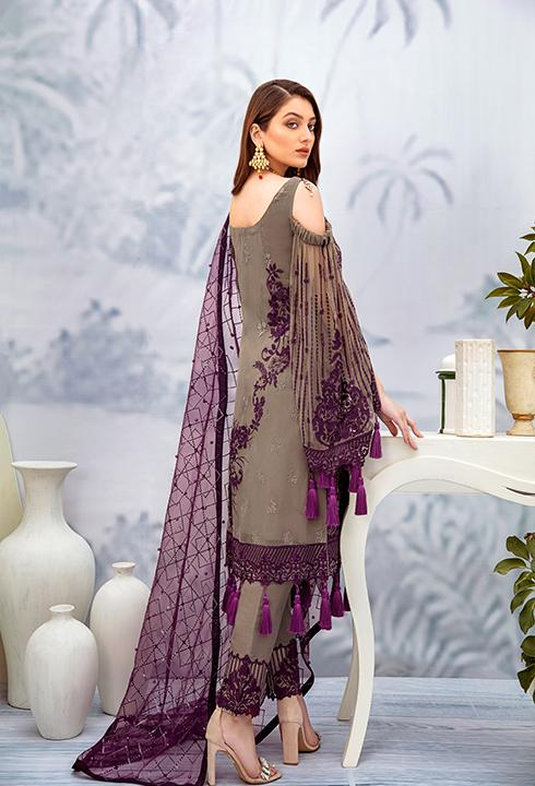 Latest embroidered Pakistani chiffon outfit in grey and plum color # P2510