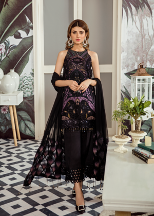 Latest Pakistani embroidered chiffon outfit in deep black color # P2419