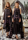 Latest Pakistani embroidered chiffon outfit in deep black color