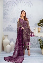 Latest embroidered Pakistani chiffon outfit in grey and plum color