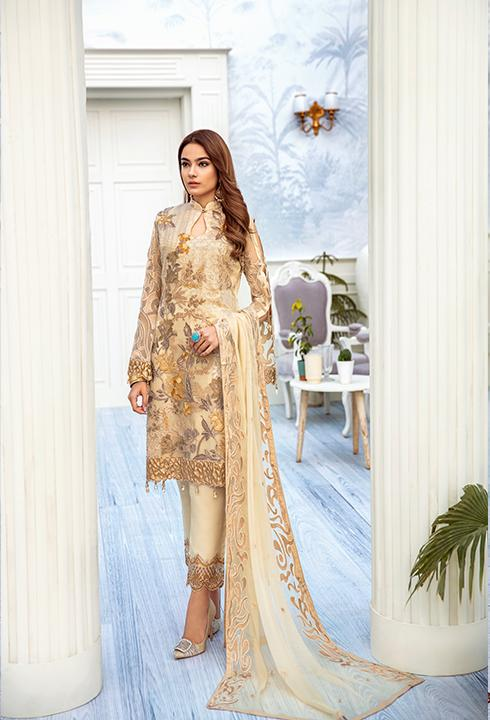 Latest embroidered chiffon outfit 2020 online in elegant skin color