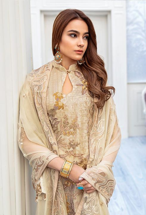 Latest embroidered chiffon outfit 2020 online in elegant skin color # P2518