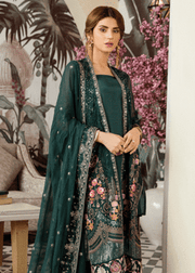 Latest thread embroidered chiffon outfit in dark green color # P2420