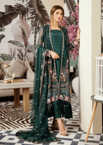 Latest thread embroidered chiffon outfit in dark green color