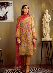 Pakistani chiffon thread embroidered dress in saffron yellow color