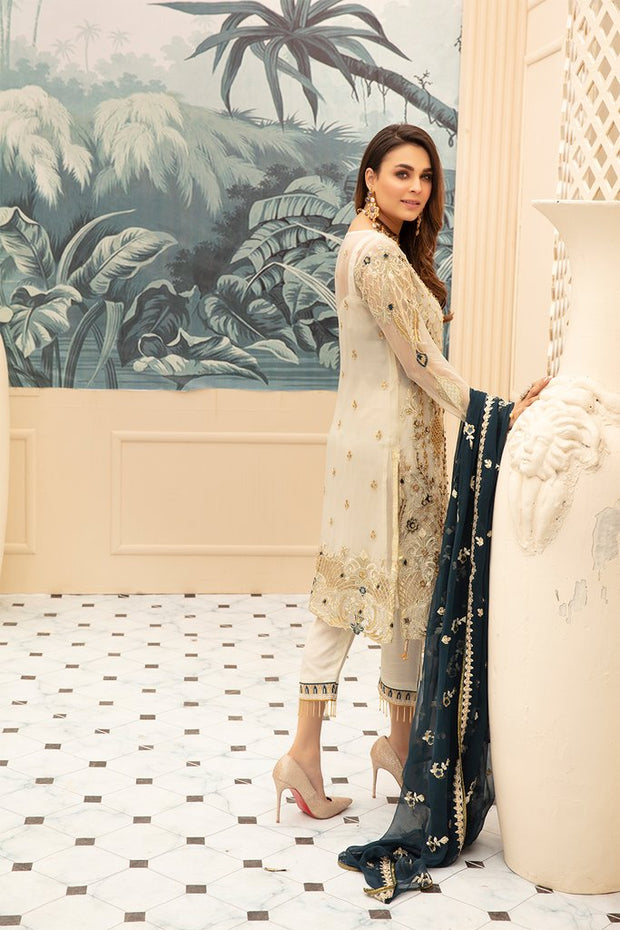 Latest embroidered Pakistani chiffon eid dress in elegant skin color # E2213