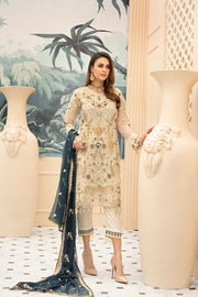 Latest embroidered Pakistani chiffon eid dress in elegant skin color