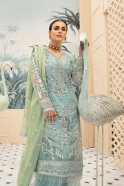 Latest embroidered net eid dress online in elegant blue color # E2215