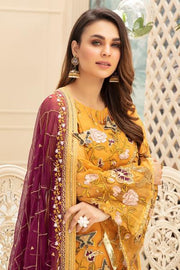 Latest embroidered Pakistani chiffon eid dress online in mustard color # E2216